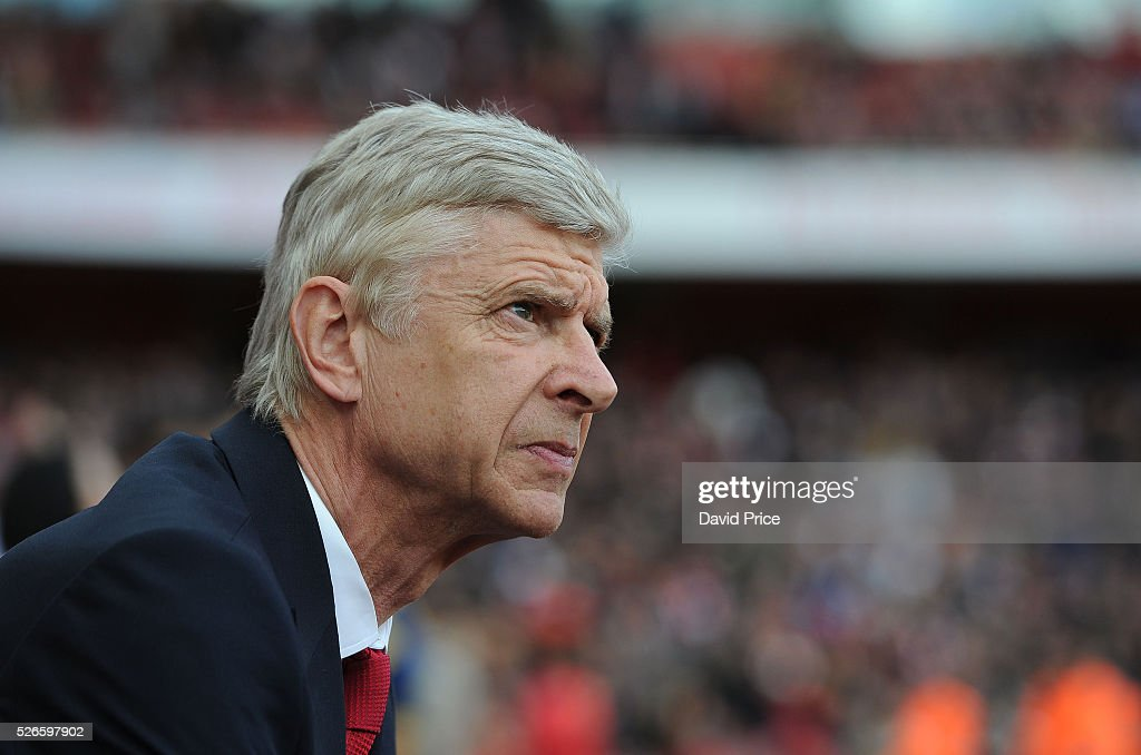 Arsene Wenger the Arsenal Manager before the Barclays Premier League match between Arsenal and Norwich City at on April 30th, 2016 in London, England