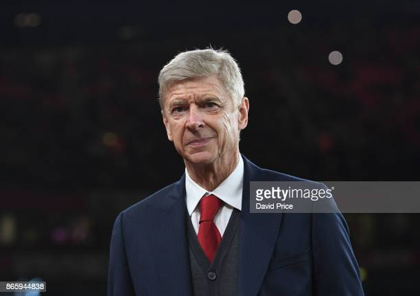 Arsene Wenger the Arsenal Manager before the Carabao Cup Fourth Round match between Arsenal and Norwich City at Emirates Stadium on October 24 2017...