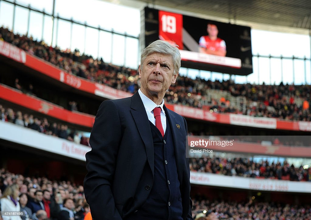 <a gi-track='captionPersonalityLinkClicked' href=/galleries/search?phrase=Arsene+Wenger&family=editorial&specificpeople=171184 ng-click='$event.stopPropagation()'>Arsene Wenger</a> the Arsenal Manager before the match between Arsenal and Sunderland in the Barclays Premier League at Emirates Stadium on February 22, 2014 in London, England.
