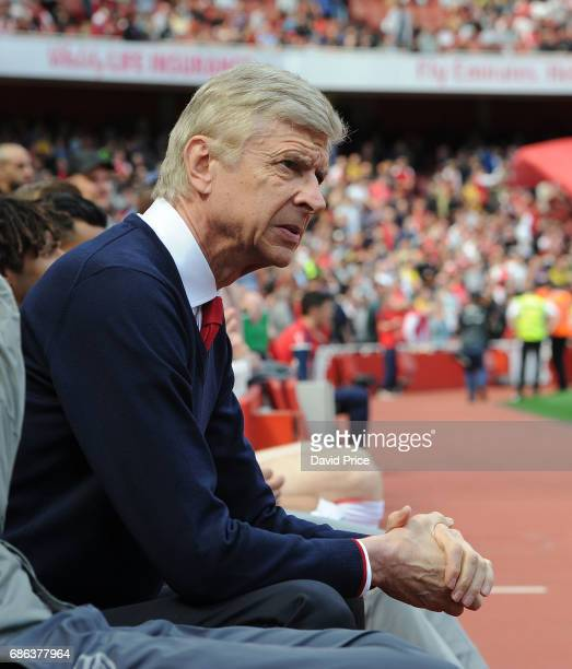 Arsene Wenger the Arsenal Manager before the Premier League match between Arsenal and Everton at Emirates Stadium on May 21 2017 in London England