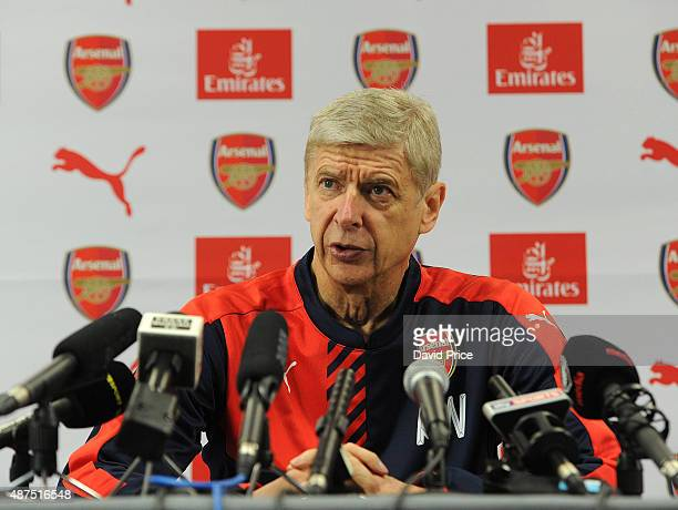 Arsene Wenger the Arsenal Manager during his press conference at London Colney on September 10 2015 in St Albans England