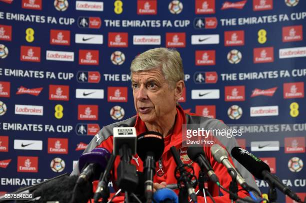 Arsene Wenger the Arsenal Manager during his press conference at London Colney on May 24 2017 in St Albans England