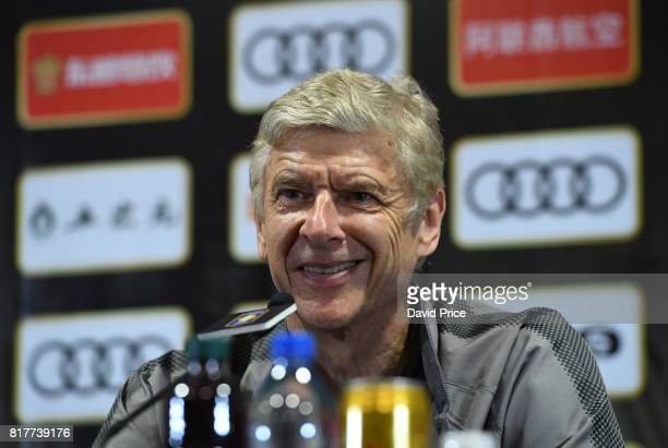 Arsene Wenger the Arsenal Manager during the Arsenal Press Conference at Shanghai Stadium on July 18 2017 in Shanghai China