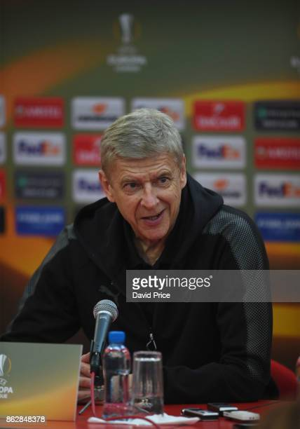 Arsene Wenger the Arsenal Manager during the Arsenal Press Conference ahead of the UEFA Europa League group H match between Crvena Zvezda and Arsenal...