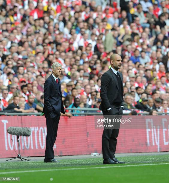 Arsene Wenger the Arsenal Manager during the match between Arsenal and Manchester City at Wembley Stadium on April 23 2017 in London England