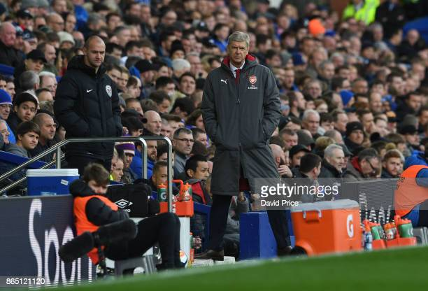Arsene Wenger the Arsenal Manager during the Premier League match between Everton and Arsenal at Goodison Park on October 22 2017 in Liverpool England