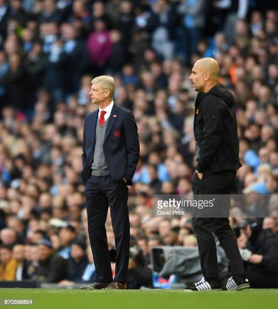Arsene Wenger the Arsenal Manager during the Premier League match between Manchester City and Arsenal at Etihad Stadium on November 5 2017 in...