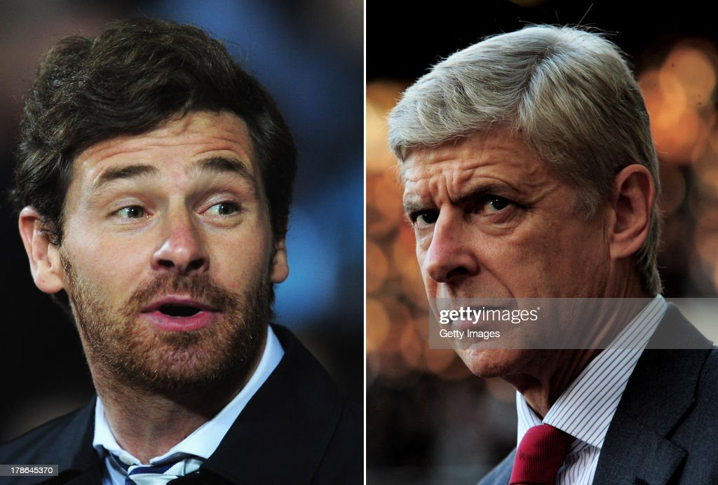 IMAGES - Image Numbers 162765723 (L) and 153916744) In this composite image a comparison has been made between Tottenham Hotspur Manager Andre Villas Boas (L) and Arsenal Manager <a gi-track='captionPersonalityLinkClicked' href=/galleries/search?phrase=Arsene+Wenger&family=editorial&specificpeople=171184 ng-click='$event.stopPropagation()'>Arsene Wenger</a>. The Premier League match between Arsenal and Tottenham Hotspur takes place on September 1, 2013 at the Emirates Stadium, London, England. LONDON, ENGLAND - OCTOBER 06: <a gi-track='captionPersonalityLinkClicked' href=/galleries/search?phrase=Arsene+Wenger&family=editorial&specificpeople=171184 ng-click='$event.stopPropagation()'>Arsene Wenger</a> the Arsenal manager reacts during the Barclays Premier League match between West Ham United and Arsenal at the Boleyn Ground on October 6, 2012 in London, England.