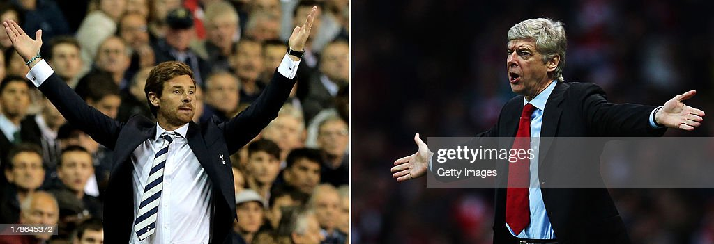 IMAGES - Image Numbers 152421664 (L) and 136293069 ) In this composite image a comparison has been made between Tottenham Hotspur Manager Andre Villas Boas (L) and Arsenal Manager <a gi-track='captionPersonalityLinkClicked' href=/galleries/search?phrase=Arsene+Wenger&family=editorial&specificpeople=171184 ng-click='$event.stopPropagation()'>Arsene Wenger</a>. The Premier League match between Arsenal and Tottenham Hotspur takes place on September 1, 2013 at the Emirates Stadium, London, England. LONDON, ENGLAND - DECEMBER 31: <a gi-track='captionPersonalityLinkClicked' href=/galleries/search?phrase=Arsene+Wenger&family=editorial&specificpeople=171184 ng-click='$event.stopPropagation()'>Arsene Wenger</a> the Arsenal manager reacts on the touchline during the Barclays Premier League match between Arsenal and Queens Park Rangers at the Emirates Stadium on December 31, 2011 in London, England.