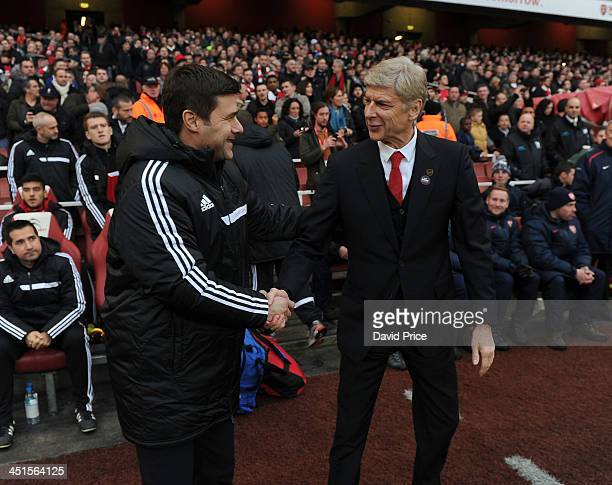 Arsene Wenger the Arsenal Manager shakes hands with Mauricio Pochettino the Manager of Southampton before the Barclays Premier League match between...