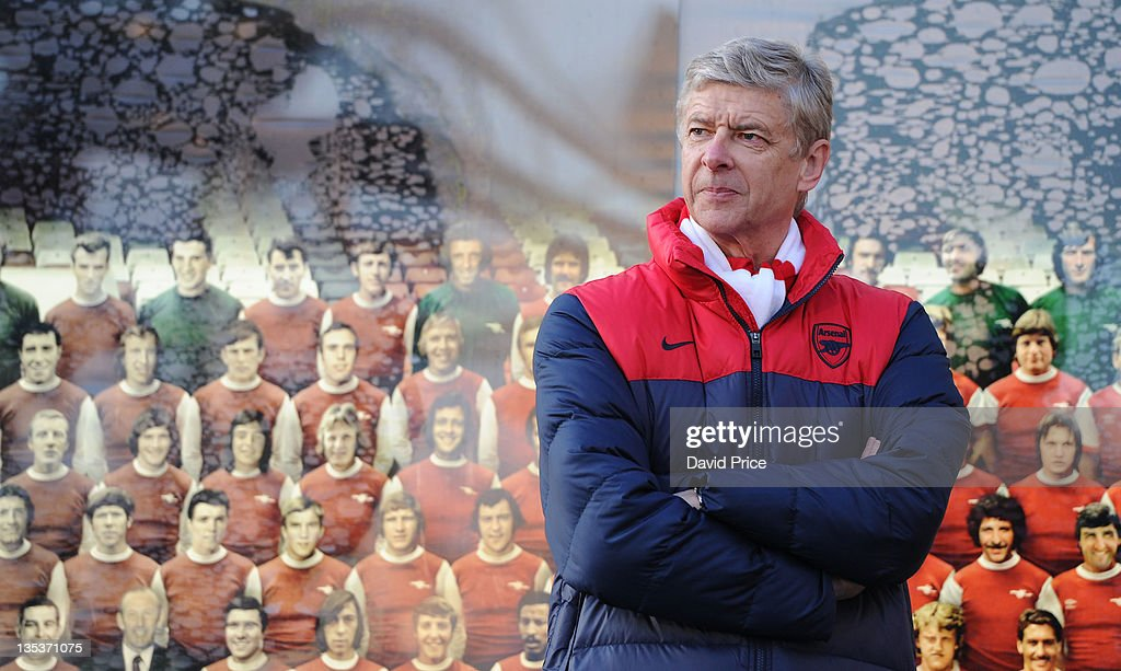 <a gi-track='captionPersonalityLinkClicked' href=/galleries/search?phrase=Arsene+Wenger&family=editorial&specificpeople=171184 ng-click='$event.stopPropagation()'>Arsene Wenger</a> the Arsenal manager speaks at the Statue unveilling at Emirates Stadium, one of three iconic statues to be placed at the Emirates Stadium home of Arsenal Football Club, on December 9, 2011 in London, England.