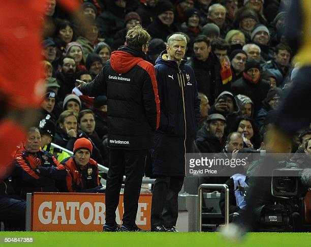 Arsene Wenger the Arsenal Manager with Jurgen Klopp the Liverpool Manager during the Barclays Premier League match between Liverpool and Arsenal at...