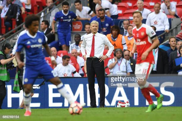 Arsene Wenger the Manager during the match between Arsenal and Chelsea at Wembley Stadium on May 27 2017 in London England