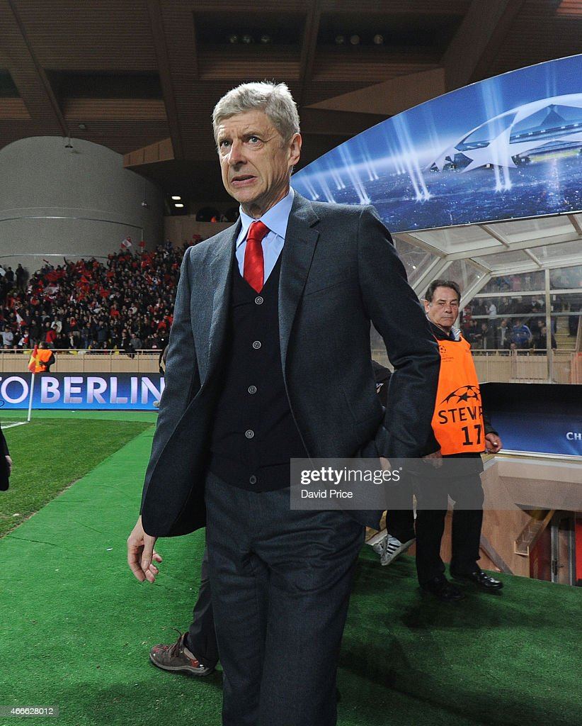 Arsene Wenger the Manager of Arsenal before the match between AS Monaco and Arsenal at Stade Louis II on March 17, 2015 in Monaco, Monaco.