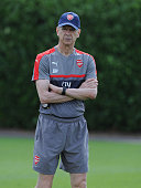 Arsene Wenger the Manager of Arsenal during a 1st team training session at London Colney on July 23 2016 in St Albans England