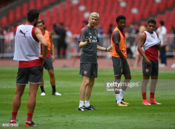 Arsene Wenger the Manager of Arsenal during an Arsenal Training Session at the Birds Nest on July 21 2017 in Beijing China