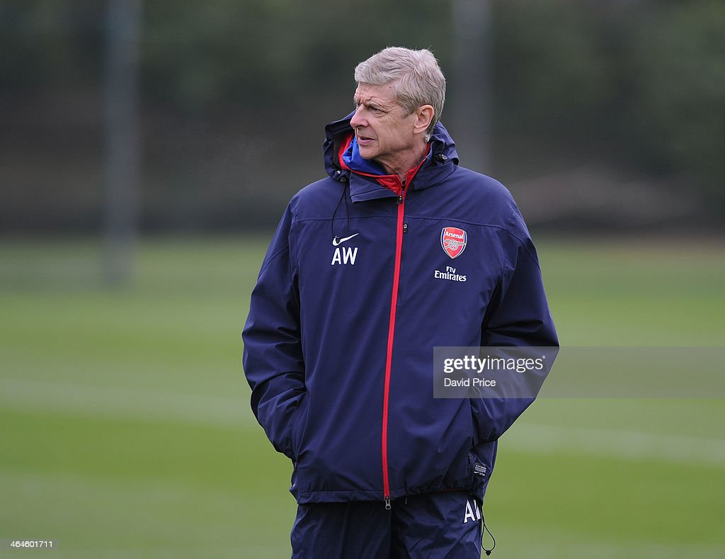 Arsene Wenger the manager of Arsenal during Arsenal Training Session at London Colney on January 23, 2014 in St Albans, England.