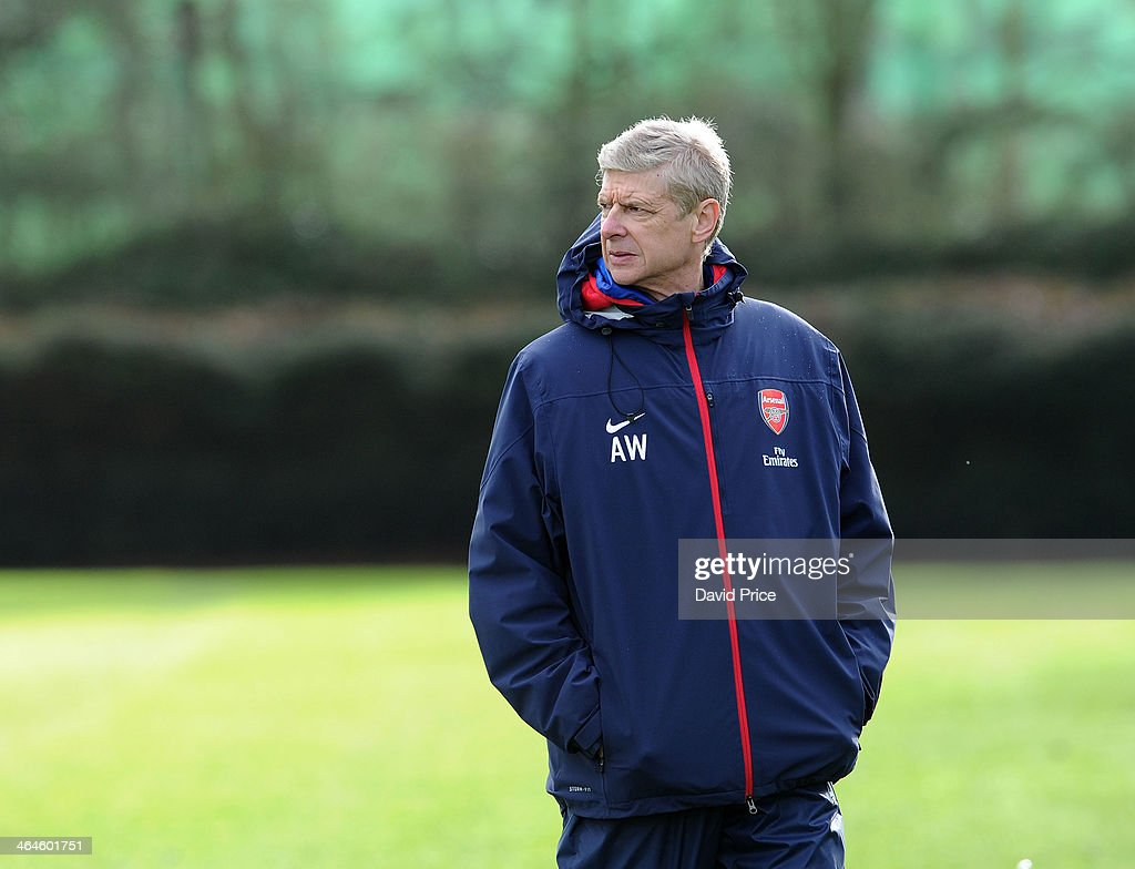 <a gi-track='captionPersonalityLinkClicked' href=/galleries/search?phrase=Arsene+Wenger&family=editorial&specificpeople=171184 ng-click='$event.stopPropagation()'>Arsene Wenger</a> the manager of Arsenal during Arsenal Training Session at London Colney on January 23, 2014 in St Albans, England.
