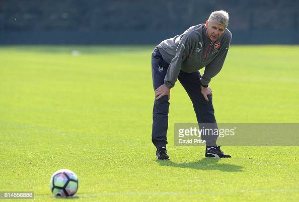 Arsene Wenger the Manager of Arsenal during Arsenal Training Session at London Colney on October 14 2016 in St Albans England