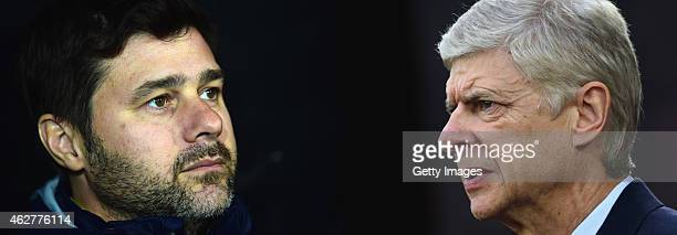 COMPOSITE OF TWO IMAGES Image numbers 460312336 and 460959840 In this composite image a comparision has been made between Mauricio Pochettino manager...