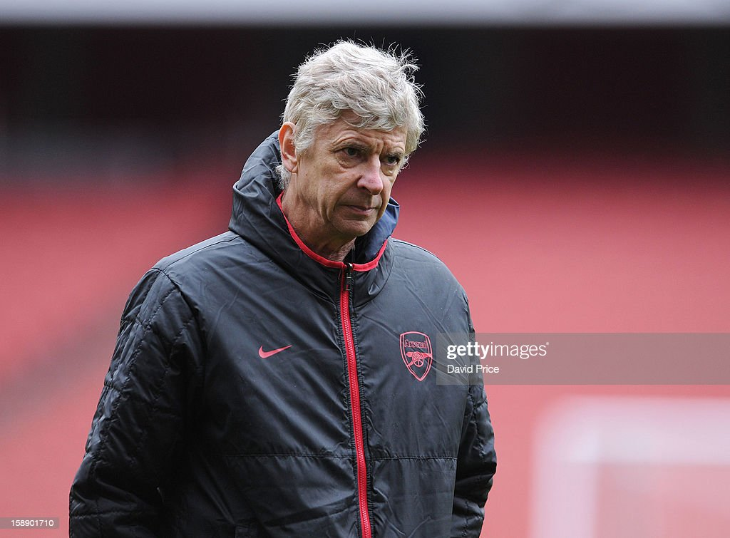 Arsene Wenger the Manager of Arsenal looks on during a training session at Emirates Stadium on January 03, 2013 in London, England.