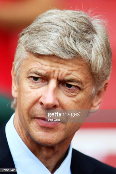 Arsene Wenger the manager of Arsenal looks on during the Emirates Cup match between Arsenal and Athletico Madrid at the Emirates Stadium on August 1...