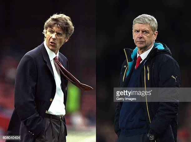 COMPOSITE OF TWO IMAGES Image numbers 1530530 and 511891146 In this composite image a comparison has been made between Arsene WengerManager of...