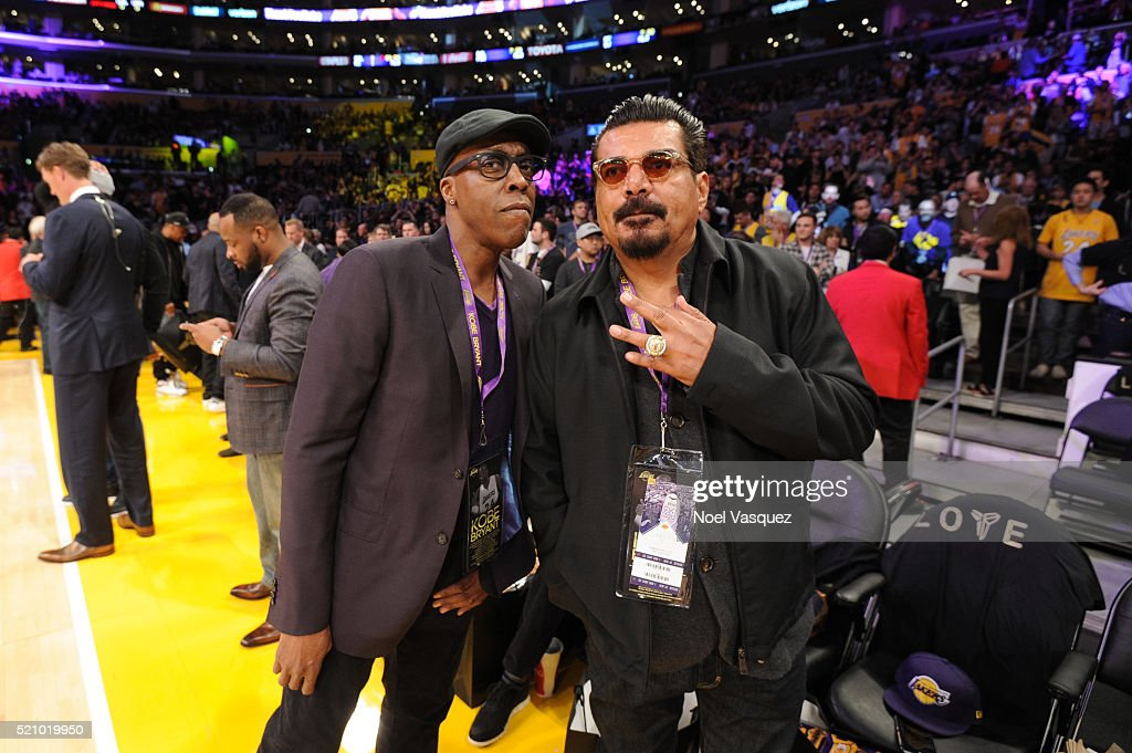 Arsenio Hall and George Lopez attend a basketball game between the Utah Jazz and the Los Angeles Lakers at Staples Center on April 13 2016 in Los...