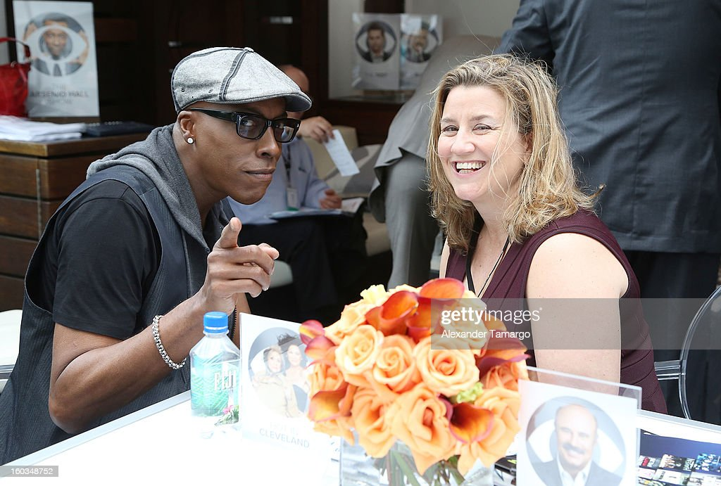 Arsenio Hall is seen at the CBS Television Distribution cabana during NATPE at Fontainebleau Miami Beach on January 29, 2013 in Miami Beach, Florida.