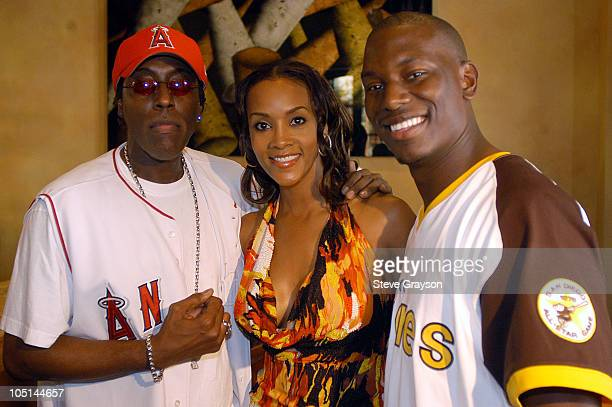 Arsenio Hall Vivica A Fox and Tyrese during 2003 Lady Of Soul Train Awards Nominations at Spagos in Beverly Hills California United States