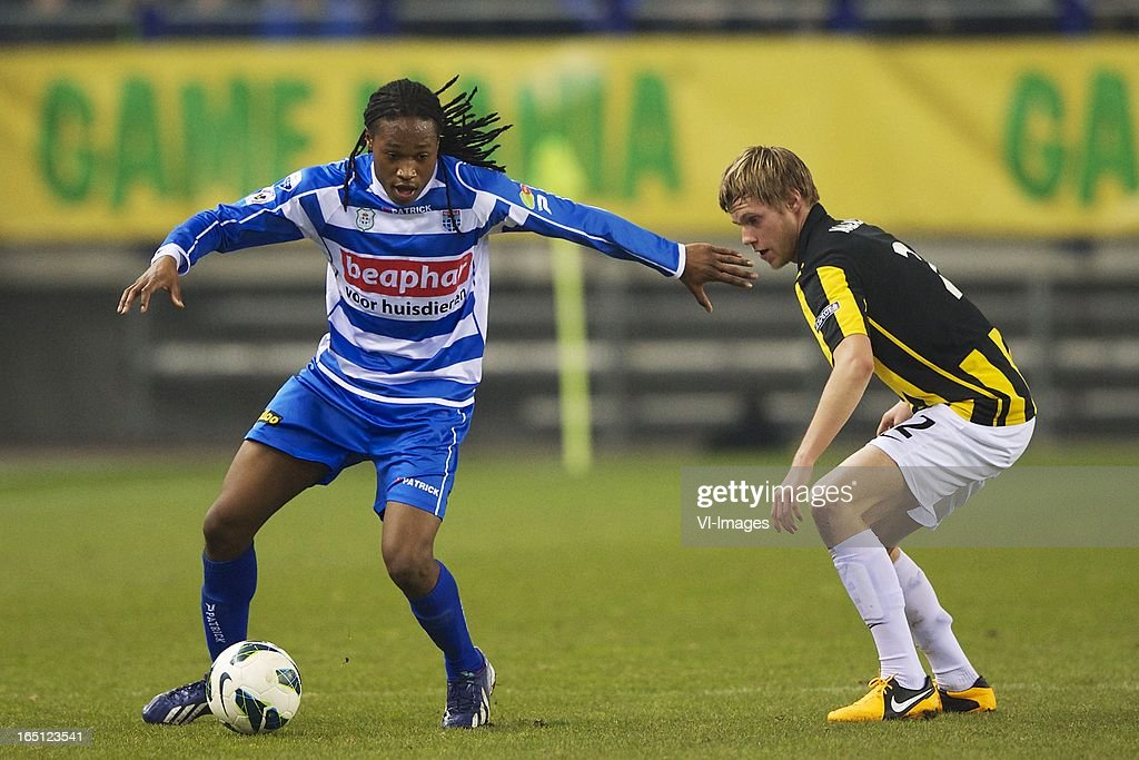 Arsenio Valpoort of PEC Zwolle, Tomas Kalas of Vitesse during the Dutch Eredivisie match between Vitesse Arnhem and PEC Zwolle at the Gelredome on march 31, 2013 in Arnhem, The Netherlands