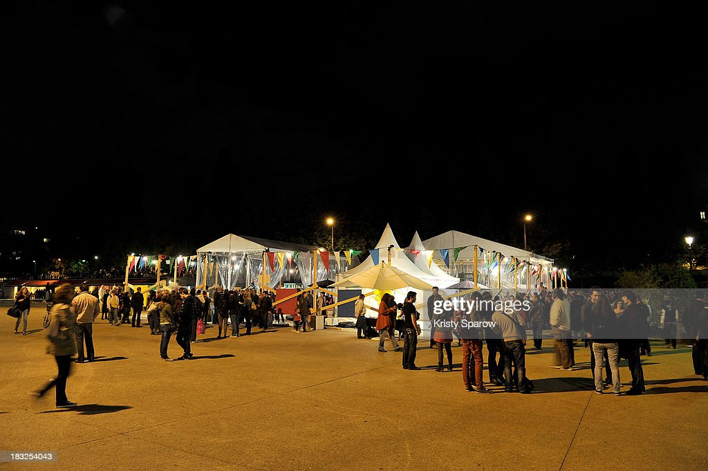 Art Activist Palle Nielsen constructed a play area for children during Nuit Blanche to illustrate the work he continues to do worldwide in underprivileged neighborhoods at Place de la Bataille de Stalingrad on October 5, 2013 in Paris, France.