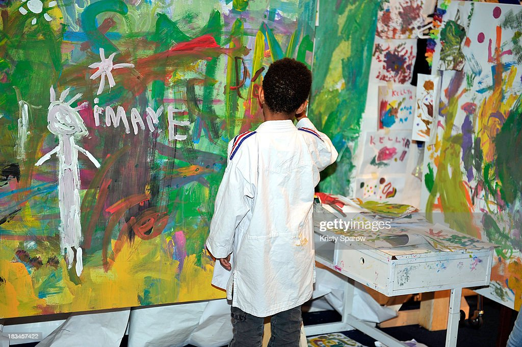 Art Activist Palle NielsenÊconstructed a play area for children during Nuit Blanche to illustrate the work he continues to do worldwide in underprivileged neighborhoods at Place de la Bataille de Stalingrad on October 5, 2013 in Paris, France.Ê