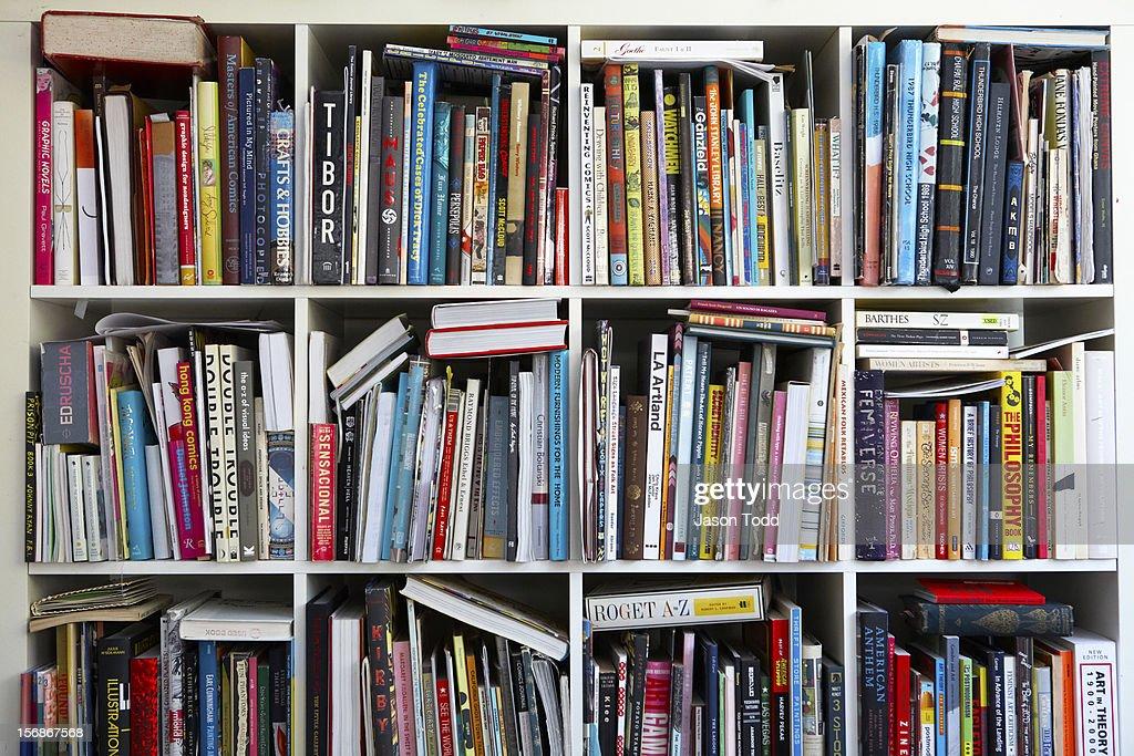Art books on shelves.