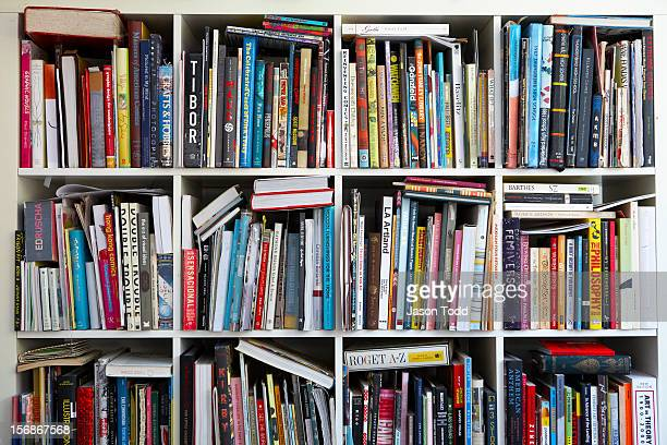 Art books on shelves.