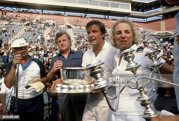 Art Buchwald Ted Kennedy Peter Duchin Ethel Kennedy at the Robert F Kennedy Memorial Tennis Tournament circa 1979 in Forest Hills Queens