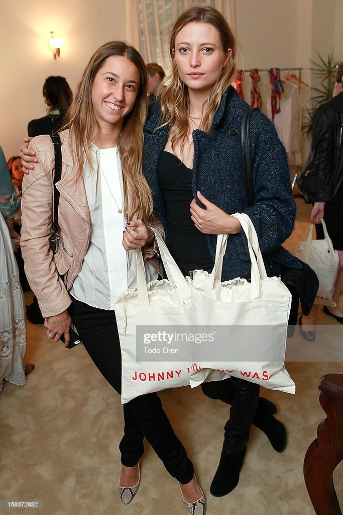 Art buyer Meredith Darrow and Model/Actress Noot Seear pose at the Johnny Was Holiday Gifting Suite at Chateau Marmont on December 13, 2012 in Los Angeles, California.