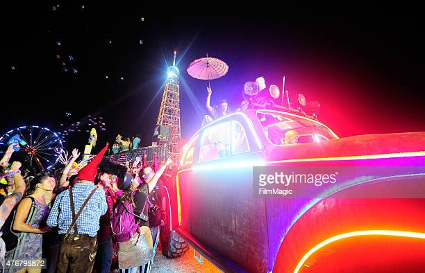 Art Car 'Big Red' is seen at The Grove Parade during Day 1 of the 2015 Bonnaroo Arts And Music Festival on June 11 2015 in Manchester Tennessee