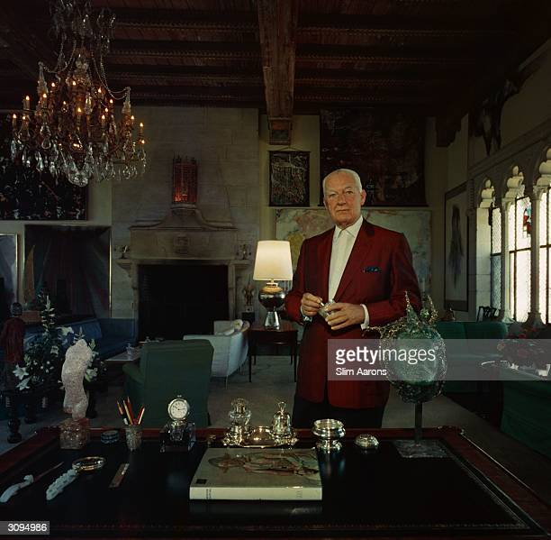 Art collector Patrick J Lannan surrounded by objets d'art in his Worth Avenue apartment Palm Beach A Wonderful Time Slim Aarons