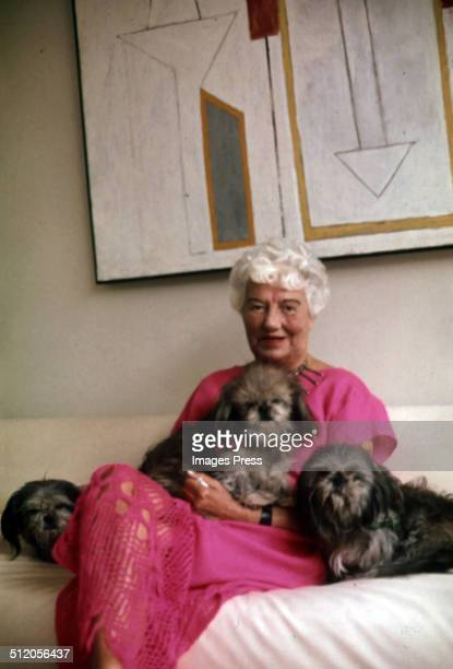 Art Collector Peggy Guggenheim photographed in her museum Peggy Guggenheim Collection on the Grand Canal in Venice Italy circa 1979