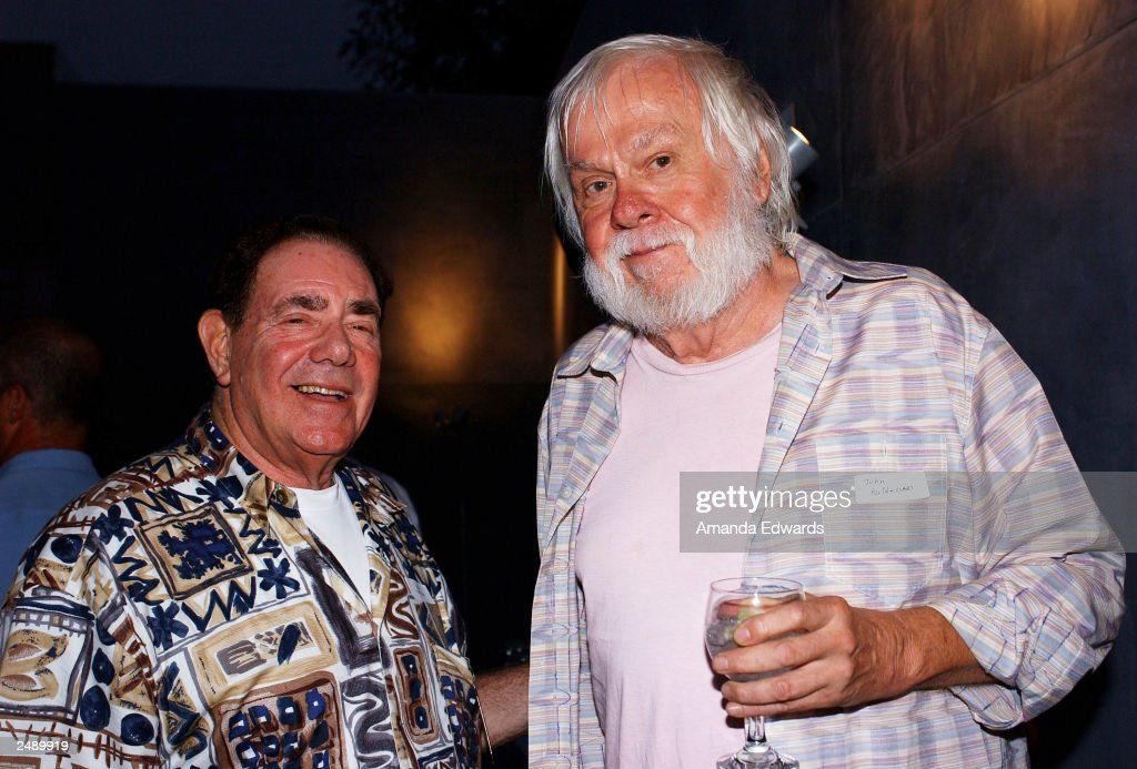 Art collector Robert Gore Rifkind poses with artist John Baldessari at the Santa Monica Museum of Art's Party with Frank Gehry at Chuck Arnoldi's art studio on September 12, 2003 in Venice, California.