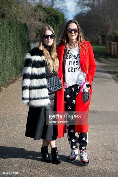 Art critic Geraldine Pigault with Stylist Estelle Pigault wears a Ping He coat Chanel bag Pipalin trousers Chanel shoes New Look sunglasses Brandy...