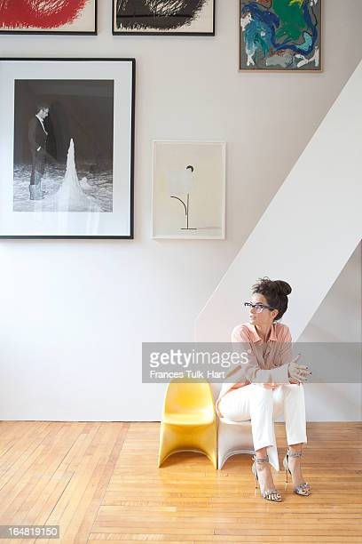 Art dealer Lucy Chadwick is photographed for NetaPorter on April 24 2012 in Brooklyn New York PUBLISHED IMAGE
