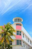 Art Deco hotel facade in Miami Florida USA