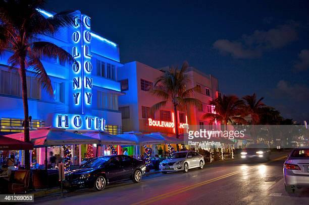 Art Deco illuminated buildings at night