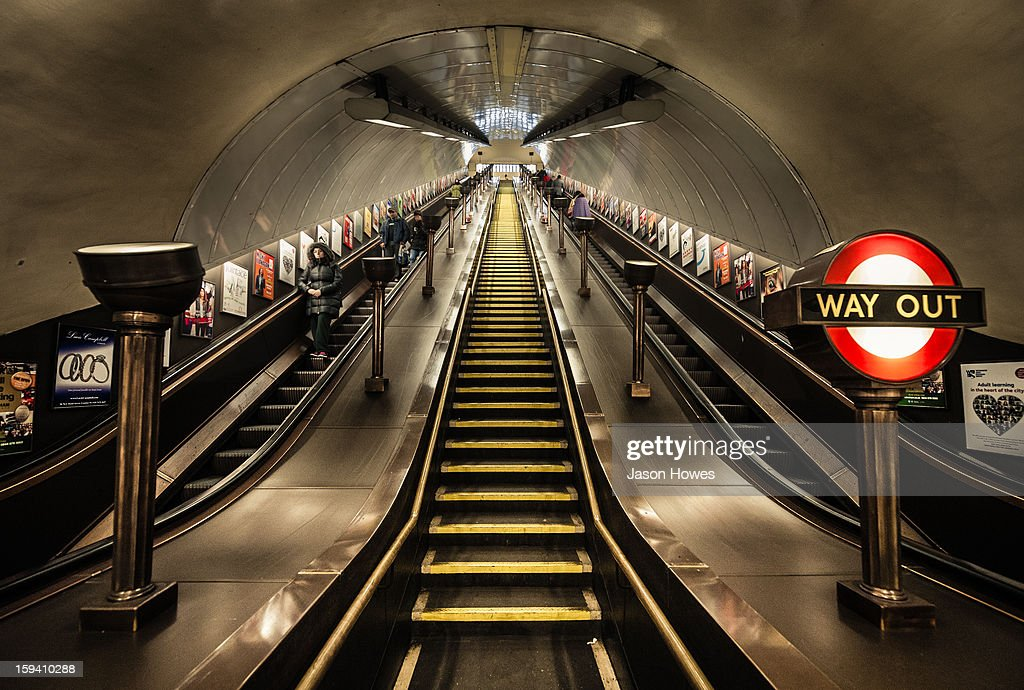 CONTENT] Art deco London Underground Station and escalators