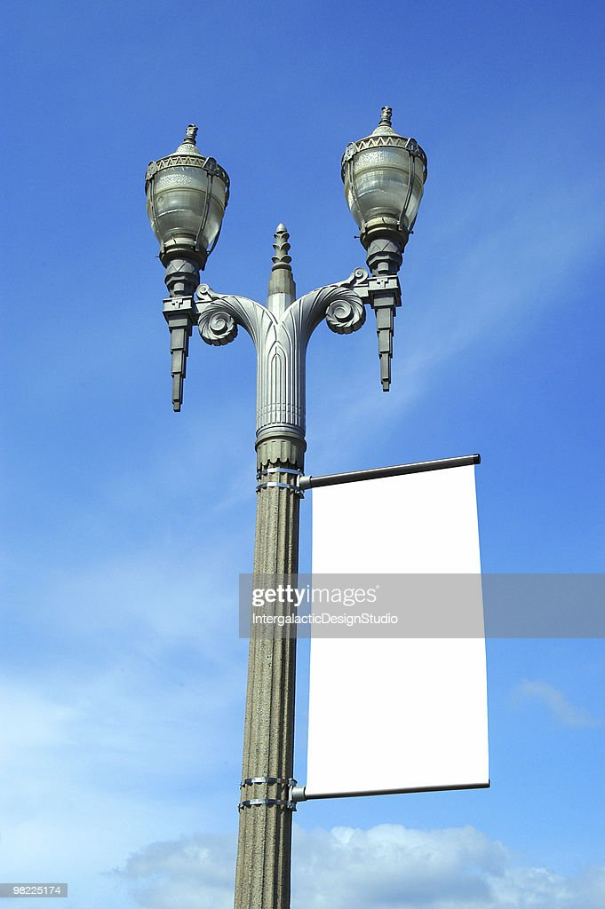 art deco street lamp with blank banner stock photo getty images. Black Bedroom Furniture Sets. Home Design Ideas
