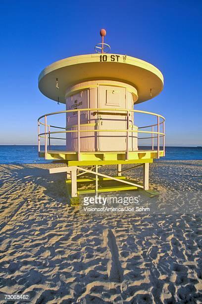 'Art deco style lifeguard house on south beach, Miami Beach, Florida'
