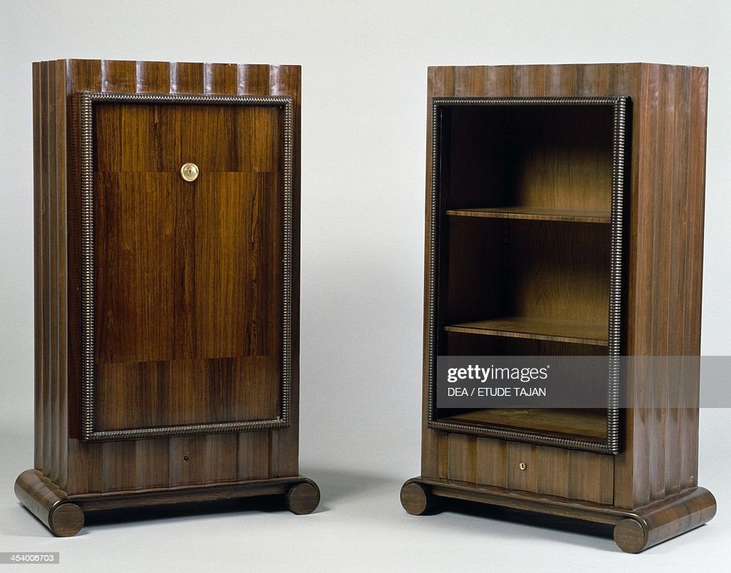 Art Deco style mini bar and bookcase, Stelcavgo model, 1928 and 1927  respectively, - Art Deco Style Mini Bar And Bookcase Pictures Getty Images