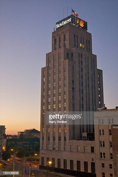 Art Deco tower at dusk.